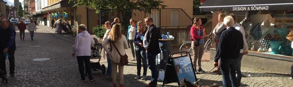 Det var högt besökstryck under de timmar Skaramoderaterna talade skola på Klostergatan under lördagen.